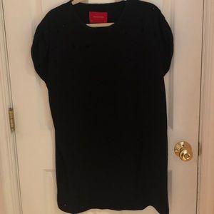 Distressed Black T-shirt Dress